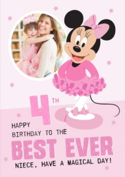 Disney Minnie Mouse Photo upload 4th Birthday Card Best Ever Niece