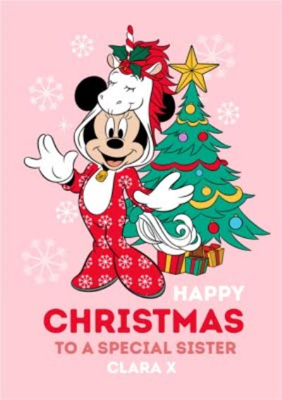 Disney Mickey And Minnie Christmas Card To A Special Sister