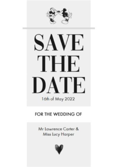 Disney Mickey Mouse Save The Date Wedding Card