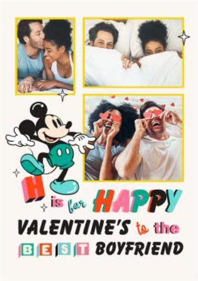 Disney Mickey Mouse H Is For Happy Valentine's Day Card For Boyfriend