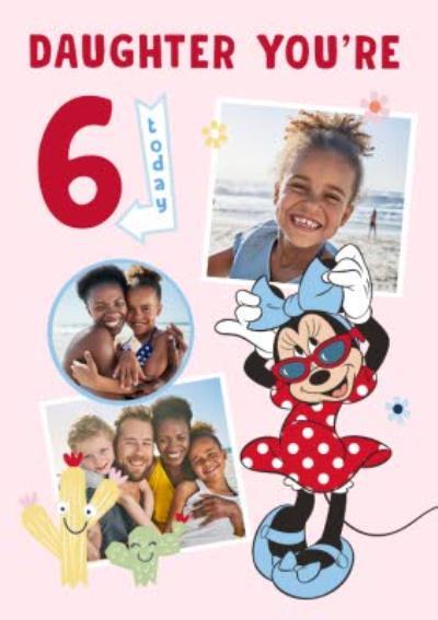 Disney Minnie Mouse 6 Today Photo Upload Birthday Card