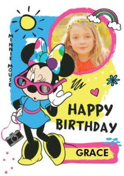 Disney Minnie Mouse Happy Birthday Photo Card