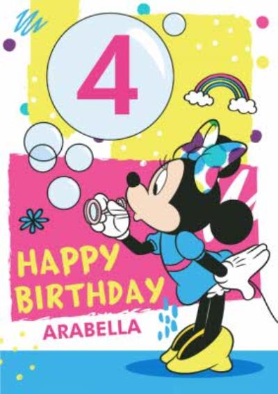 Disney Mickey And Friends Personalised 4Th Birthday Card
