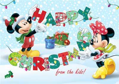 Mickey & Minnie Mouse Christmas Card From The Kids