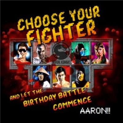 Mortal Kombat Klassic gaming choose your fighter optional photo upload birthday card