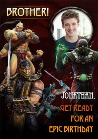 Mortal Kombat gaming Brother photo upload birthday card