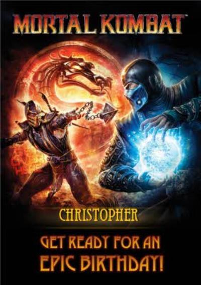 Mortal Kombat gaming Scorpion Sub Zero birthday card