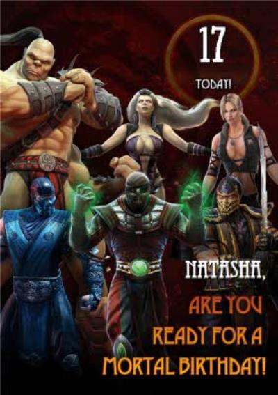 Mortal Kombat gaming 17 today birthday card