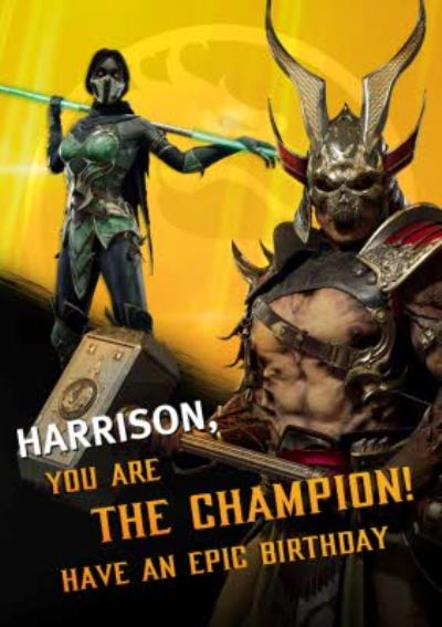 Mortal Kombat You Are The Champion card
