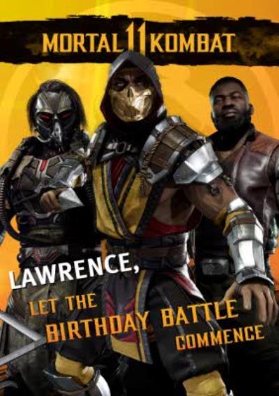 Mortal Kombat Let The Birthday Battle Comence card