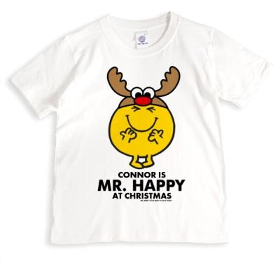 Merry Christmas Mr Men Mr Happy Personalised T-shirt