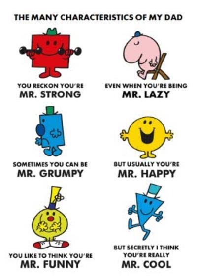 Mr Men Characteristics Of Dad Personalised Happy Birthday Card