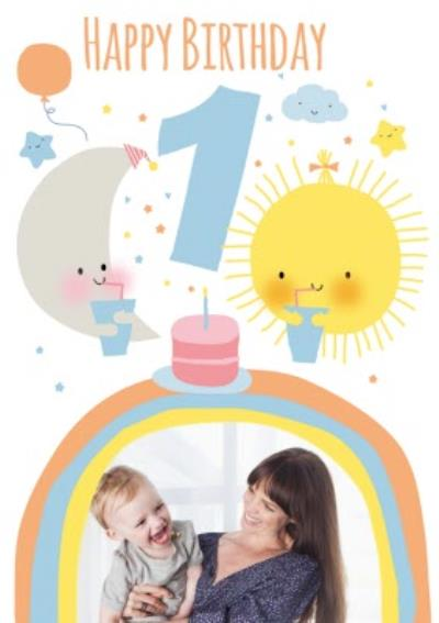 Cute Moon And Sun Personalised Photo Upload Happy 1st Birthday Card