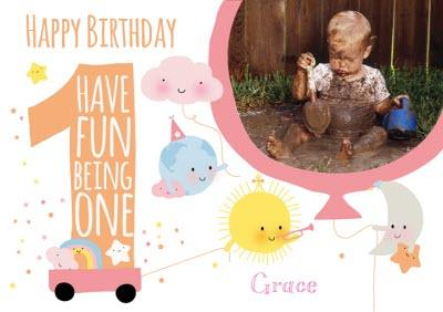 Having Fun Being One Personalised Photo Upload Happy 1st Birthday Card