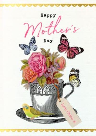 Vintage Flowers Butterflies Mother's Day Card