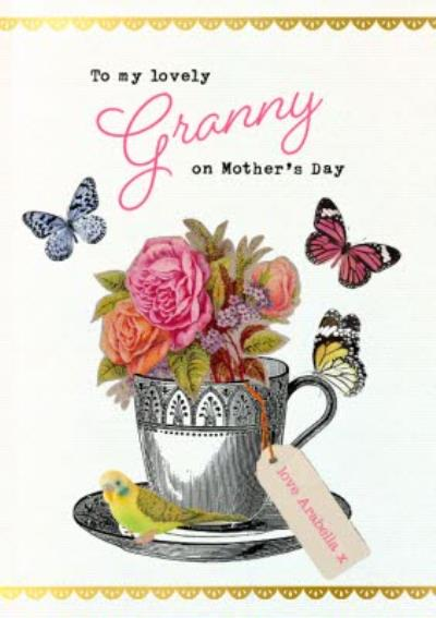 Vintage Flowers Butterflies Lovely Granny Mother's Day Card