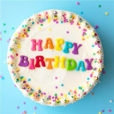Colourful Happy Birthday Cake With Sprinkles Card