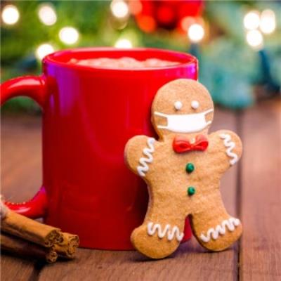 Photographic Gingerbread Man Mask Covid Funny Christmas Card
