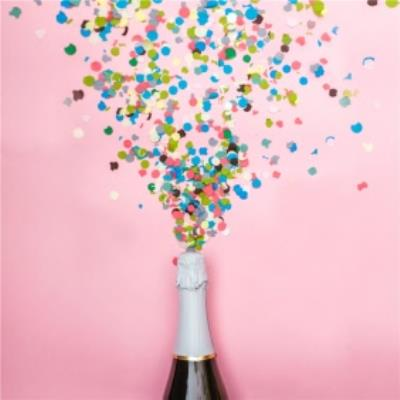 Photographic Champagne And Confetti Congratulations Card