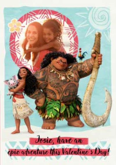 Disney Moana Personalised Happy Valentine's Day Photo Card