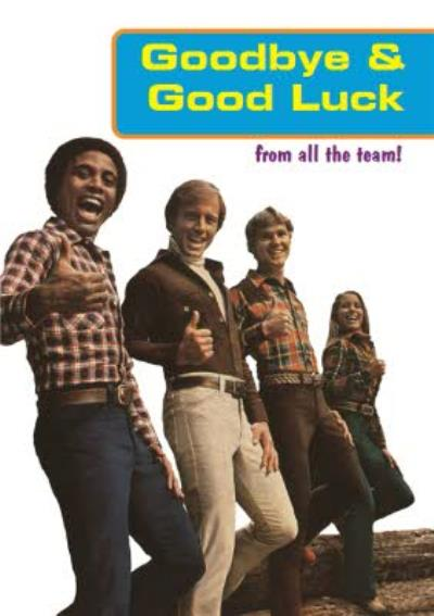 Retro Goodbye And Good Luck From All The Team Personalised Leaving Card