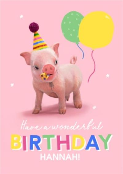 Moonpigs Party Pig Have A Wonderful Birthday Card