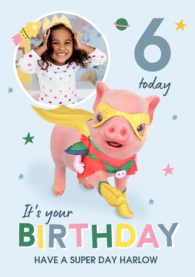 Moonpigs Cute Superpig Photo Upload Birthday Card
