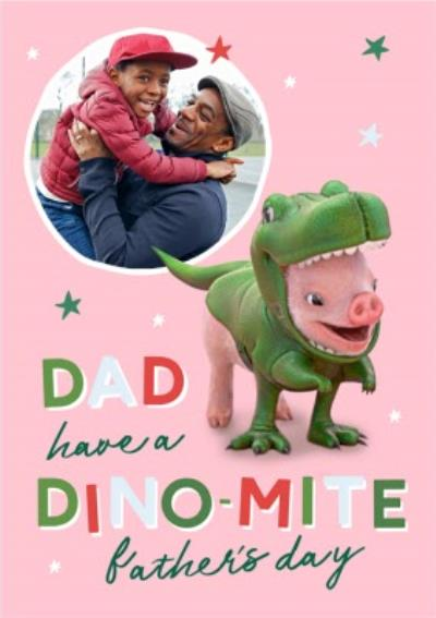 Moonpigs Cute Dinosaur Pig Dino Mite Photo Upload Father's Day Card