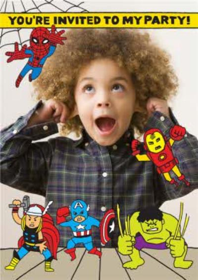 Marvel The Avengers Photo Upload Birthday Party Invitation