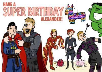 Marvel Comics Superhero Avengers funny birthday card