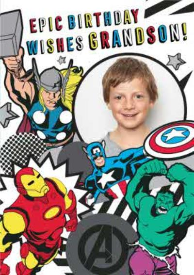 Marvel Comics Grandson Epic Birthday photo upload card