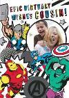 Marvel Comics Cousin! Epic Birthday photo upload card