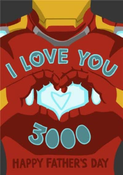 Marvel Comics Iron Man - I love you 3000 - Father's Day Card