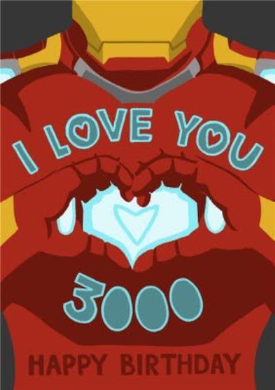 Marvel Comics Iron Man I Love You 3000 Birthday Card