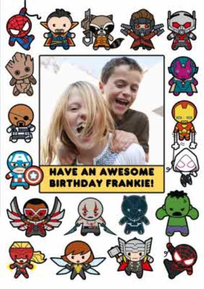 Marvel Comics Cartoon Characters Photo Upload Birthday Card