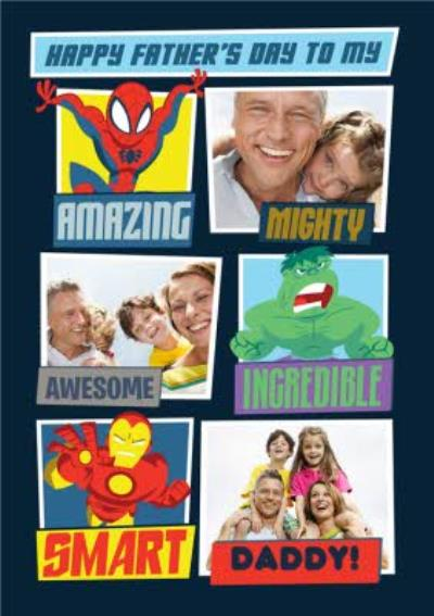 Marvel Comics Superheroes Photo Upload Father's Day Card