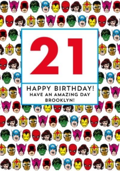 Marvel Superheroes Amazing 21st Birthday Card