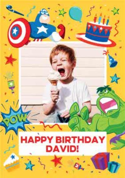 Marvel Comics Hulk And Captain America Happy Birthday Photo Upload Card