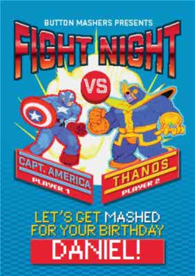 Marvel Comics Retro Fight Night Lets Get Mashed On Your Birthday Personalised Card