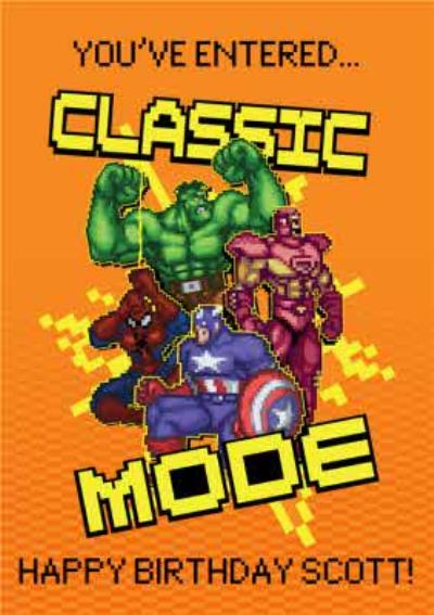 Marvel Comics Retro Youve Entered Classic Mode Happy Birthday Personalised Card