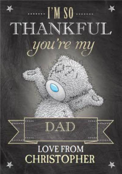 Tatty Teddy With Corner Stars Personalised Happy Father's Day Card