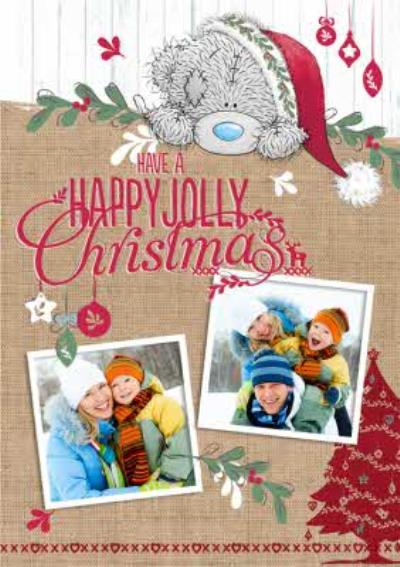 Tatty Teddy Personalised Festive Double Photo Upload Christmas Card