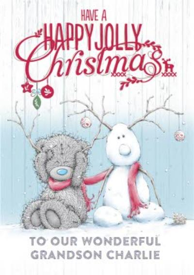 Tatty Teddy And Snow Dolph Happy Jolly Personalised Christmas Card