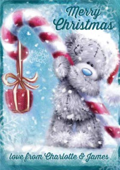Me To You Tatty Teddy Candy Cane Personalised Christmas Card