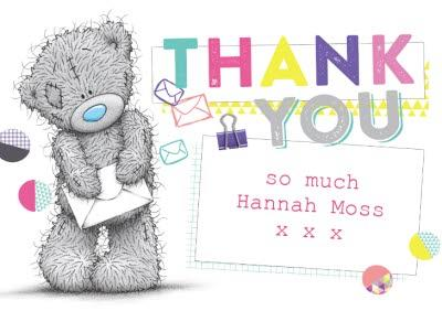 Tatty Teddy With Envelope Personalised Thank You Card