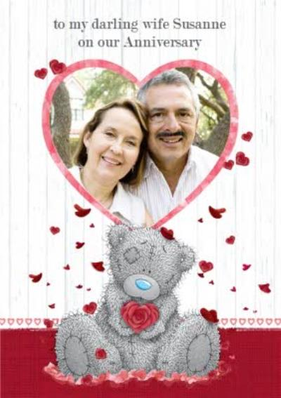 Tatty Teddy With Rose And Heart Frame Personalised Photo Upload Anniversary Card For Wife