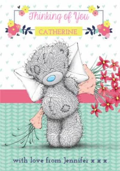 Tatty Teddy Secret Flowers Personalised Thinking Of You Card