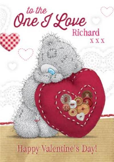 Tatty Teddy Buttone Heart To The One I Love Personalised Valentine's Day Card