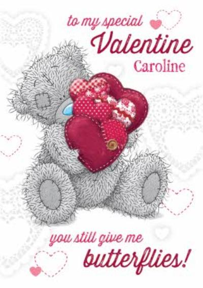 Tatty Teddy With Hearts You Give Me Butterflies Happy Valentine's Day Card