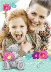 Tatty Teddy Flowers Border Personalised Photo Upload Birthday Card For Mum
